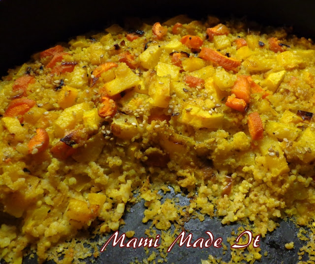 couscous casserole with carrot and sesame
