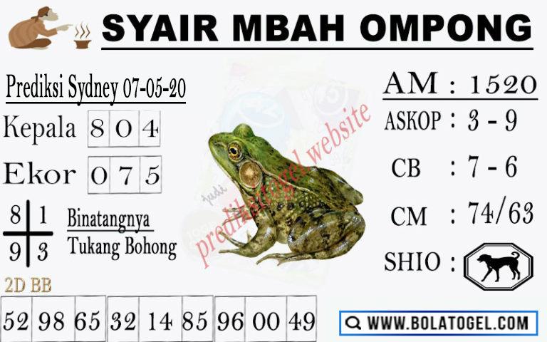 Prediksi Sydney 07 Mei 2020 - Syair Mbah Ompong