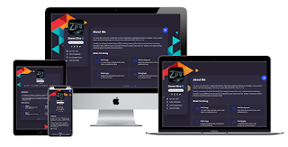 Zorex Zira About Blogger Responsibe Template | CV Card Online (Dark Mode) Version 1