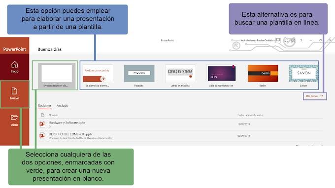Operaciones básicas de una presentación electrónica (PowerPoint 2019)