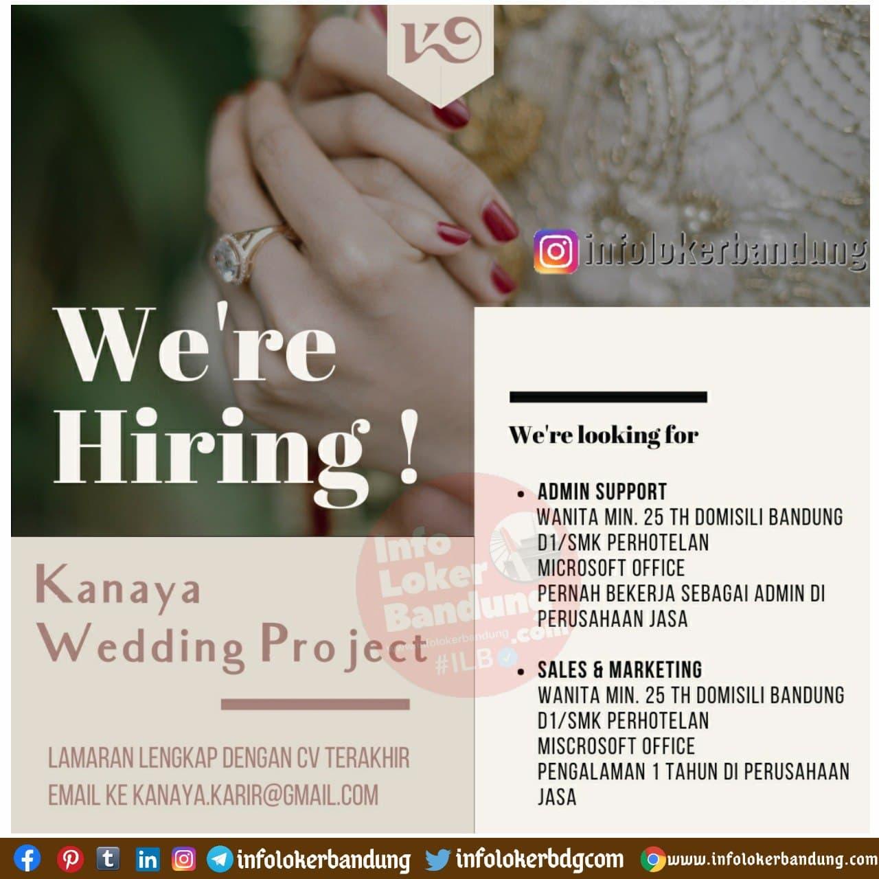 Lowongan Kerja Kanya Wedding Project Bandung Desember 2020