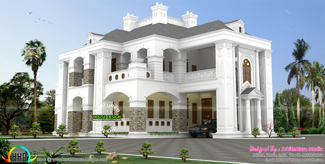 5 bhk colonial style house architecture kerala home for Colonial style house plans kerala