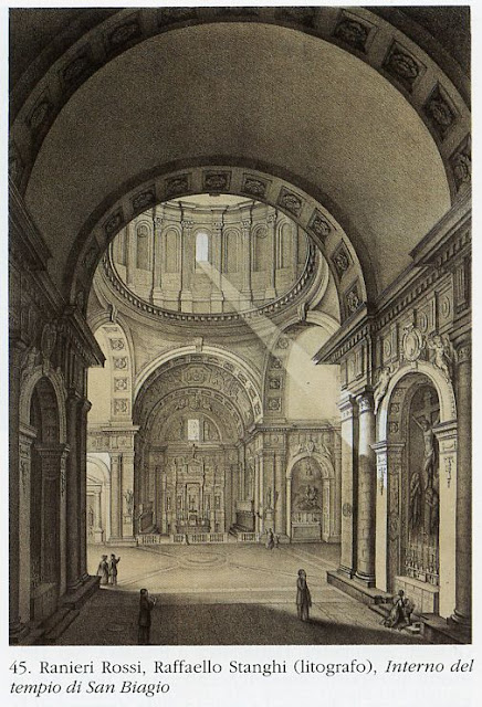 How it used to be - a drawing of Montepulciano's San Biagio church