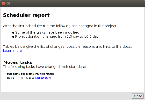 Scheduler Report