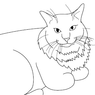 cat line drawing vector