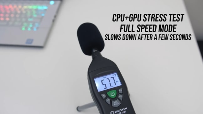 Digitech's sound level meter was measuring the noise produced by fans during CPU+GPU stress tests at full speed mode of Dell Alienware m115 r2 gaming laptop.