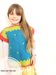 A fun granny square crochet top made with possum yarn by CraftyRie.