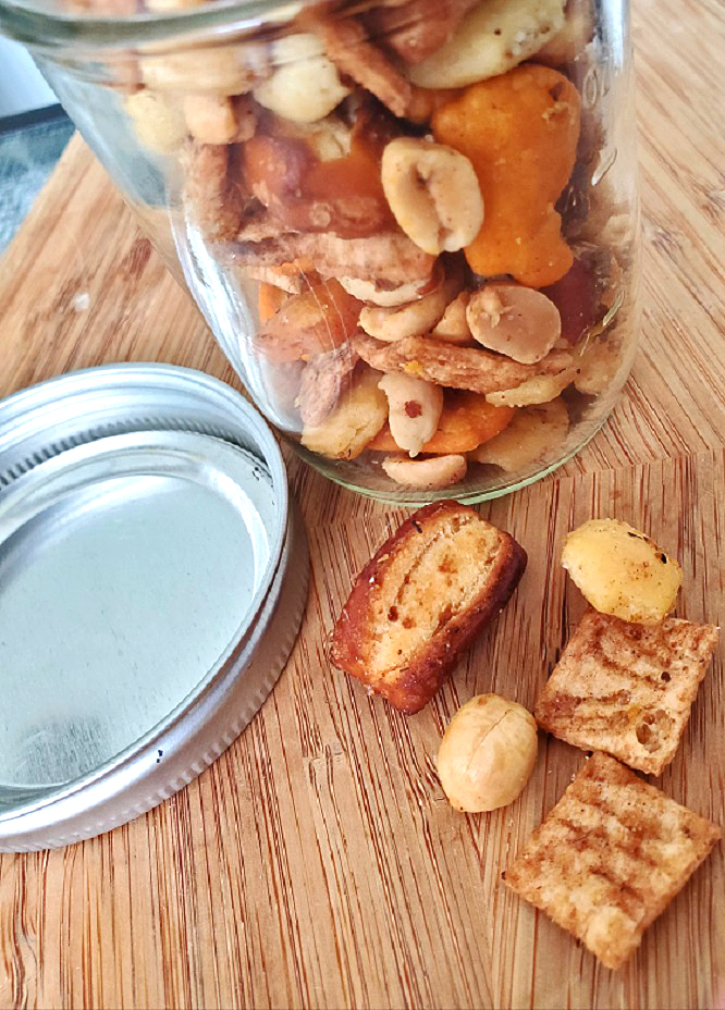 this is snack mix in a mason jar