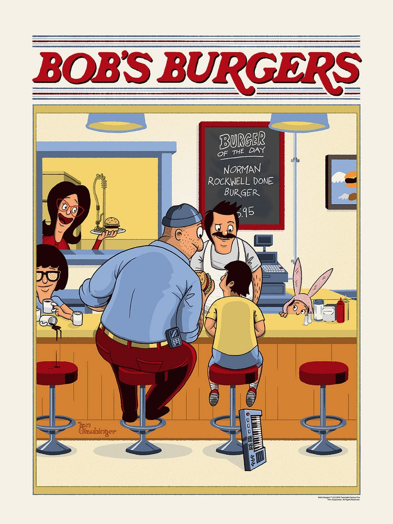 "71666567d NYCC 2018 Exclusive Bob's Burgers ""Norman Rockwell Done Burger"" Screen  Print by Ian Glaubinger x Spoke Art"