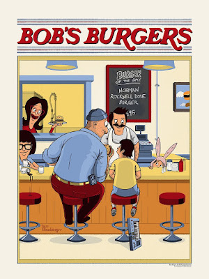 "New York Comic Con 2018 Exclusive Bob's Burgers ""Norman Rockwell Done Burger"" Screen Print by Ian Glaubinger x Spoke Art"