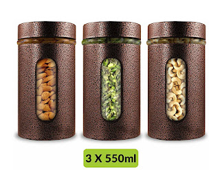 Premium Airtight Glass Metal Canisters Set
