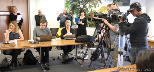 Press conference at Hastings District Council after a gastro outbreak in Havelock North, from a Hastings District Council water supply. photograph
