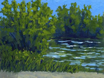 painting art nature river creek water green