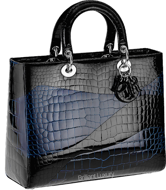 ♦Dior Lady Dior black and blue croco top handle bag #dior #bags #ladydior #brilliantluxury
