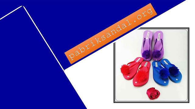 Pabrik Sandal Pompom Termurah  - Sandal Rai Teplek Pompom Wanita