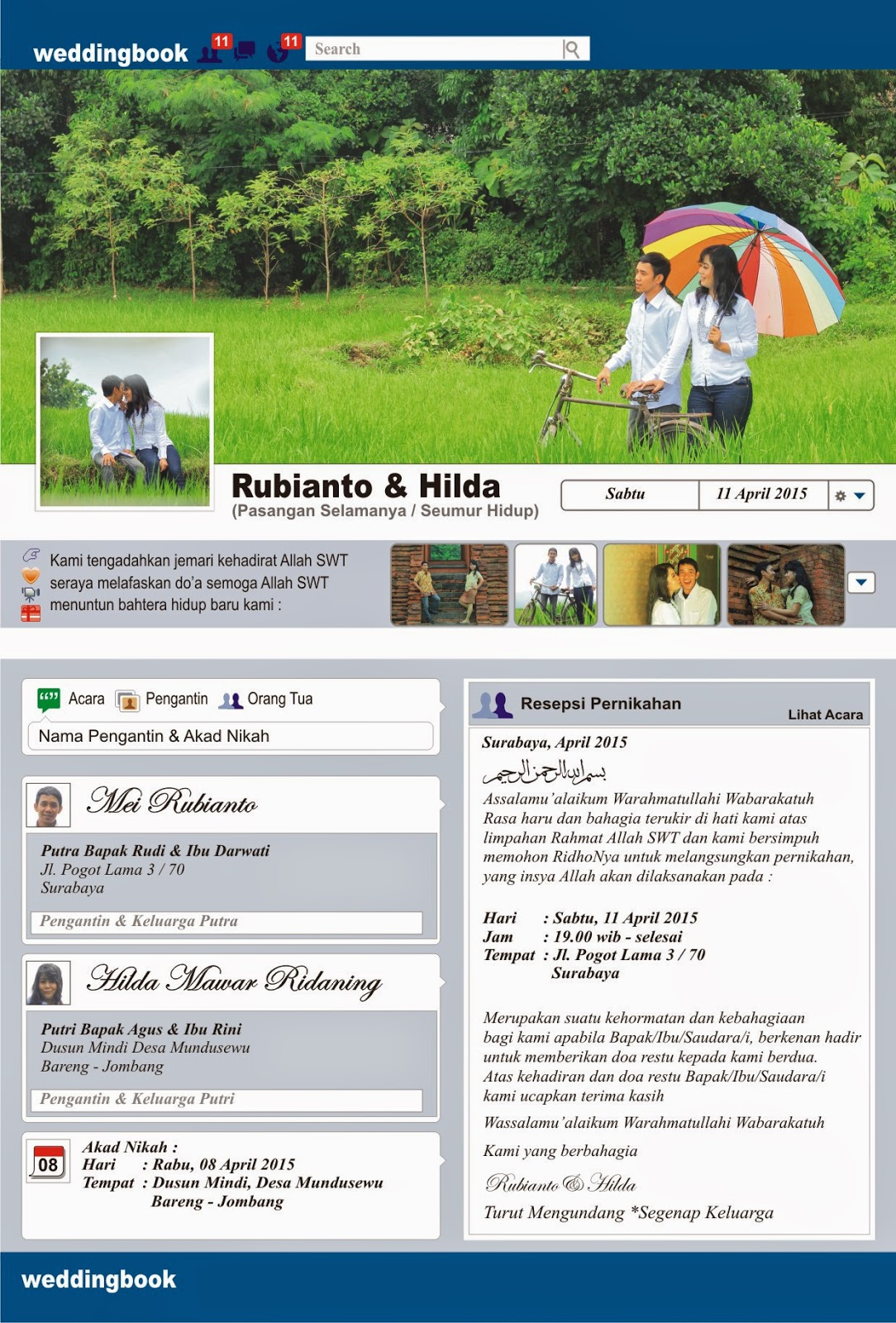 Undangan Pernikahan Tema Facebook Nebulla Art Design