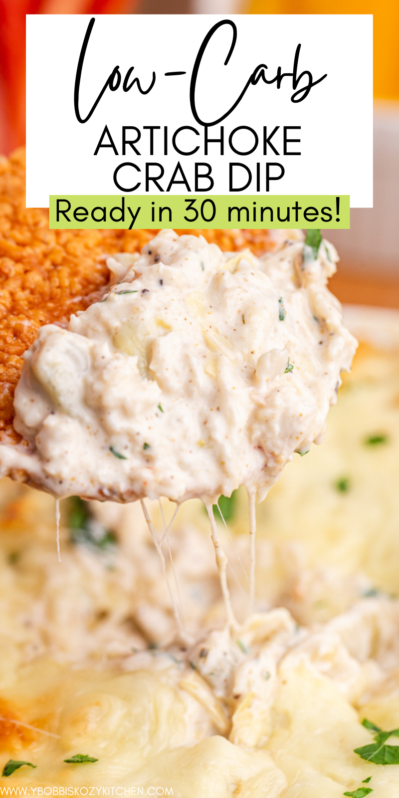 Low Carb Artichoke Crab Dip - This Low Carb Artichoke Crab Dip recipe takes just 10 minutes to put together and then is popped into the oven. The result is a crowd-pleasing cheesy dip that is baked to perfection! #keto #glutenfree #lowcarb #crab #artichoke #dip #cheese #appetizer #easy #recipe