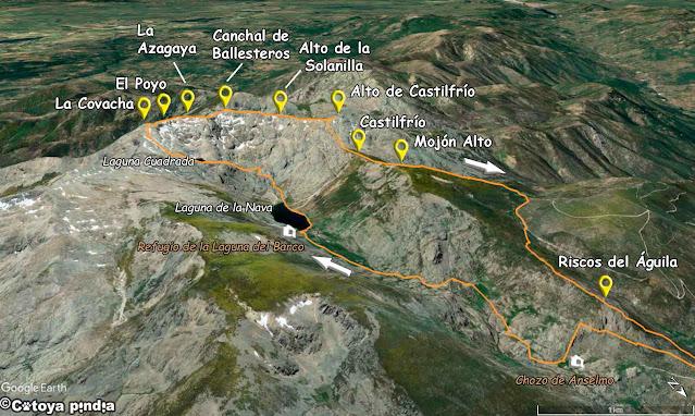 Mapa de la ruta a la Laguna del Barco y Cuadrada, pasando por la Covacha y la Azagaya en la Sierra de Gredos.