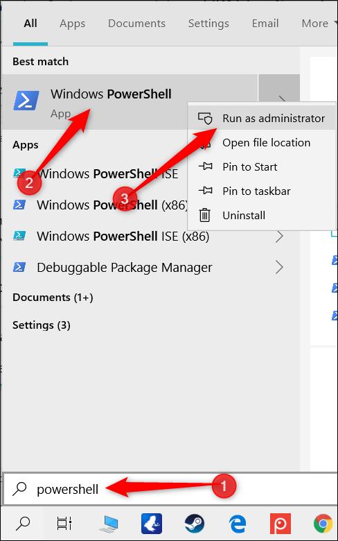 """اكتب """"PowerShell"""" في شريط البحث ، وانقر بزر الماوس الأيمن فوق """"Windows PowerShell"""" ، ثم انقر فوق """"تشغيل كمسؤول""""."""
