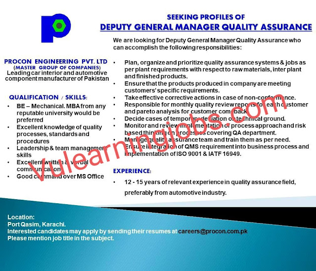 Procon Engineering Pvt. Ltd Jobs 2020 For Deputy General Manager Quality Assurance Latest