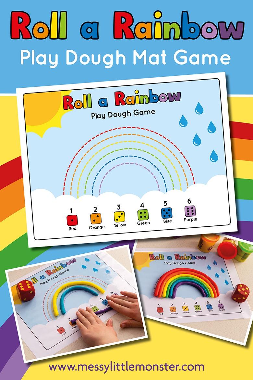 Rainbow playdough counting activity for preschoolers. Roll a rainbow printable playdough mat.