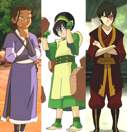 Characters Katara Toph and Zuko Costumes Season 1 Season 2 and Season 3 outfits (respectively) From Avatar The Last Airbender Made 2008 & Bright Copper Penny: Katara Toph and Zuko