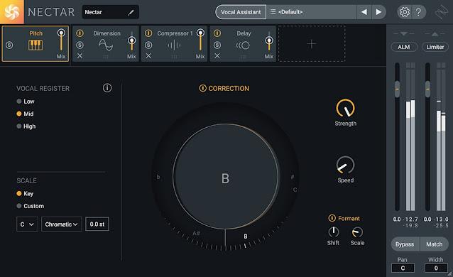 Interface do plugin iZotope - Nectar Plus 3.3