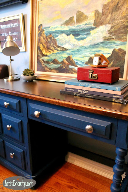 boho chic eclectic desk makeover before and after velvet finishes paint handsome blue