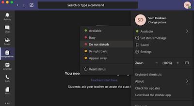 Screenshot of availability selection on Microsoft Teams