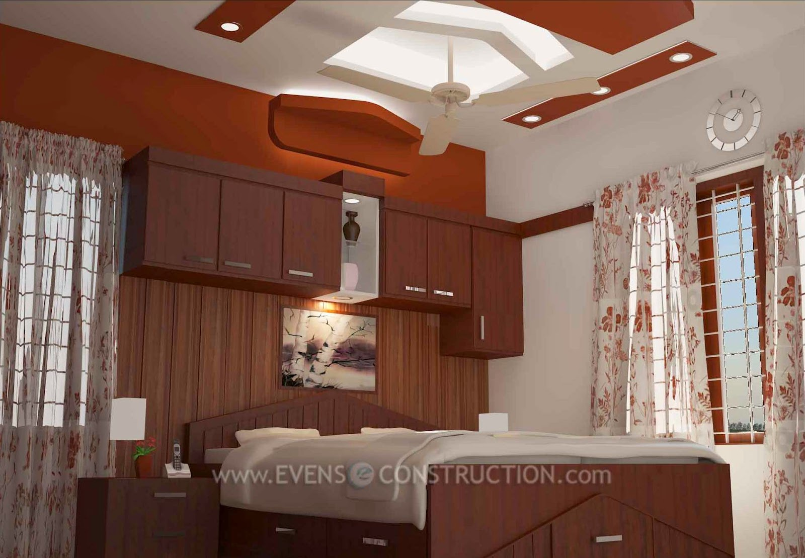Evens Construction Pvt Ltd Bedroom Interior Design For Kerala Home