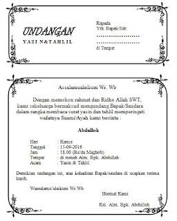 Download undangan tasyakuran tahlil setengah HVS keren
