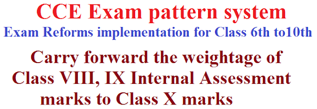 CCE Exam pattern system, Exam Reforms implementation for Class VI to X,