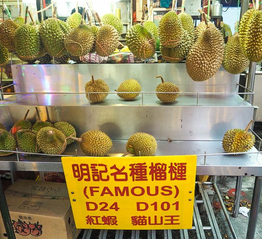 durian fruit for sale at jalan alor market in kuala lumpur
