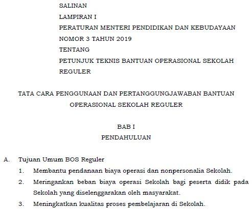 Juknis BOS 2019 Tentang Tata Cara Penggunaan dan Pertanggungjawaban BOS SD/SMP/SMA/SMK 2019 ( Download Lampiran I Permendikbud Nomor 3 Tahun 2019 )