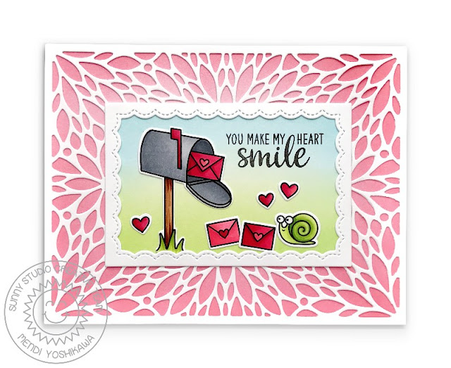 Sunny Studio Stamps: Snail Mail You Make My Heart Smile Friendship Valentine's Day Card with Mendi