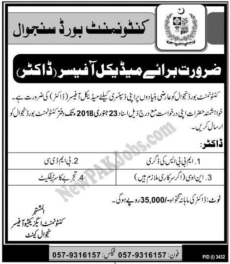 Doctor Jobs in Cantonment Board Sanjwal Jan 2018