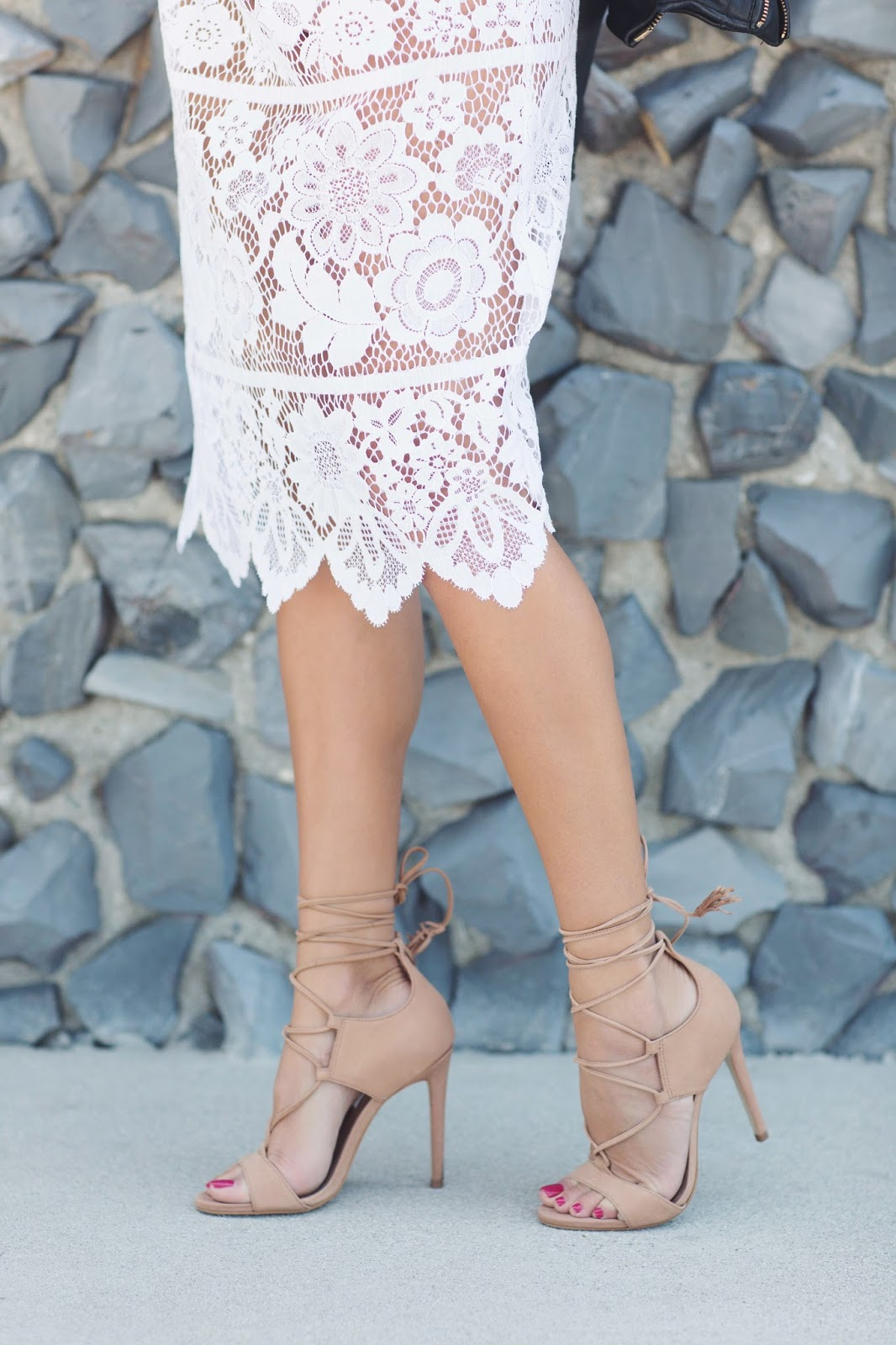 {for love lemons lace dress // steve madden 'sanibell' heels // zara  leather jacket - similar here // crap sunglasses}