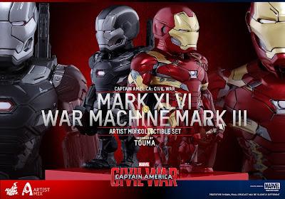 Captain America Civil War Artist Mix Figures by Touma & Hot Toys - Team Iron Man - Iron Man Mark XLVI & War Machine Mark III