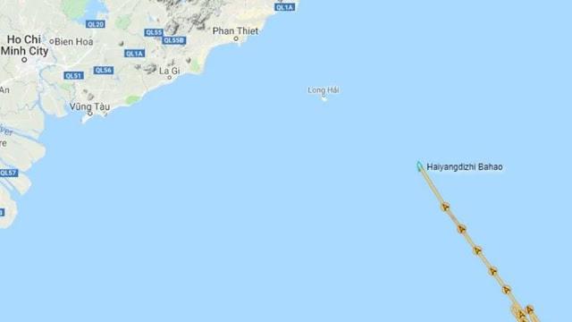 Tàu Hải Dương 8 vào gần bờ biển VN, 'cách Phan Thiết 185km'