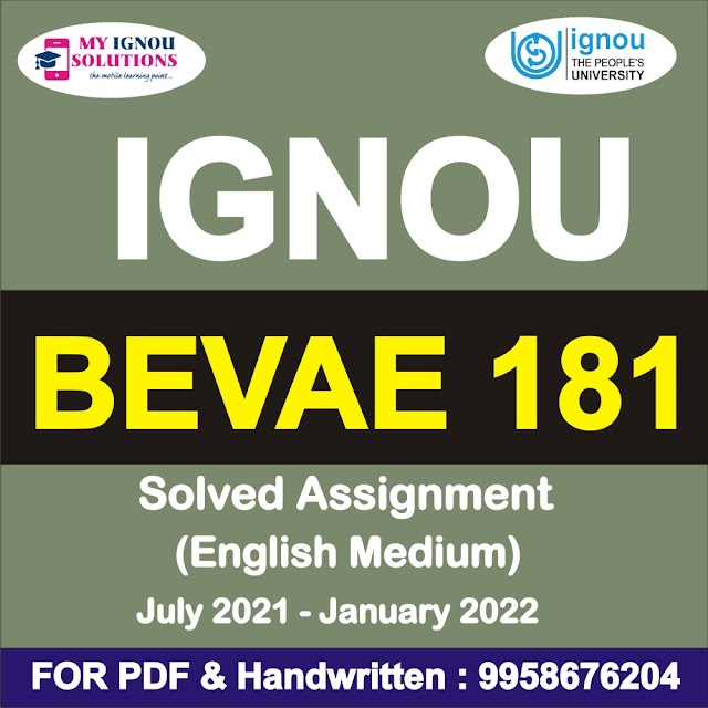 BEVAE 181 Solved Assignment 2021-22