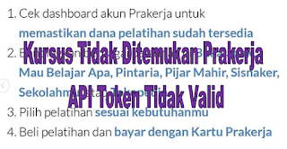 Kursus Tidak Ditemukan Prakerja dan API Token Tidak Valid