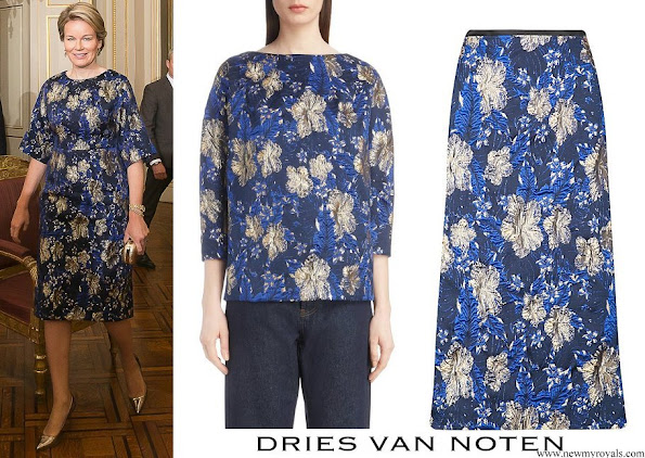 Queen Mathilde wore Dries Van Noten A-Line Metallic Floral-Jacquard Midi Dress
