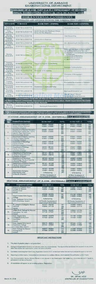 University of Karachi, Date Sheet, UoK, Sindh, B.Com Part 1 & 2, 2018 Date Sheet, Introduction of University of Karachi, Download Date Sheet of B.com UoK,