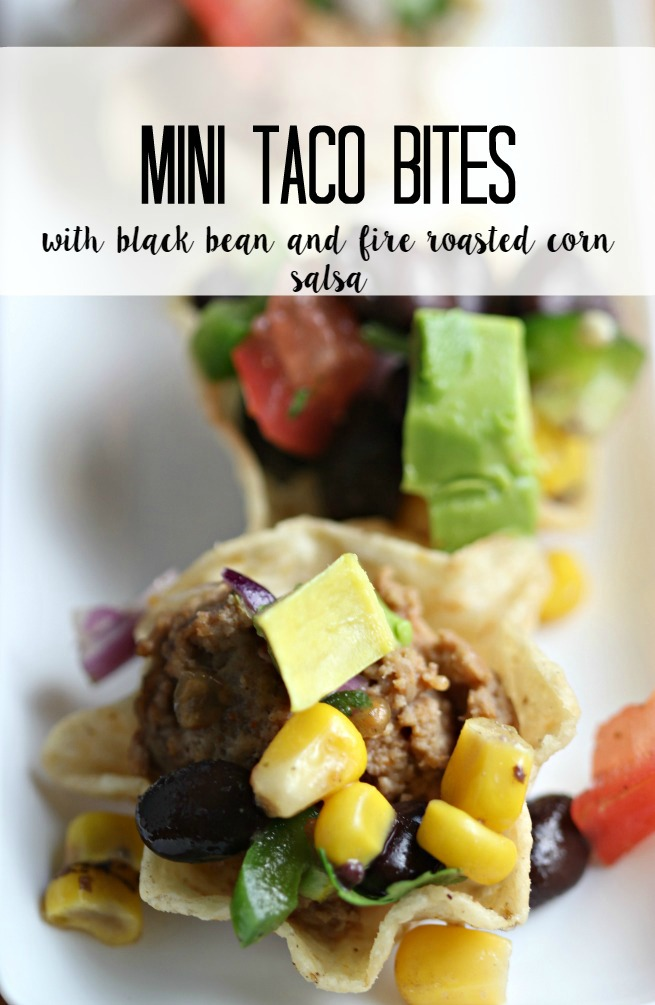 Mini Tacos Bites with Black Bean & Fire Roasted Corn Salsa