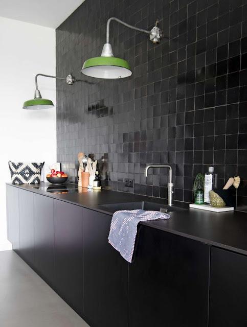 Siyah mutfak fayans seramik