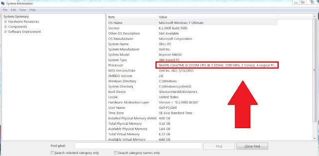 Cek Sistem Informasi Prosesor Laptop Intel