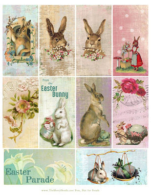 free shabby prim easter tags rabbits bunny parade