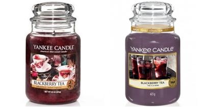 porównanie starej i nowej etykiety yankee candle blackberry tea