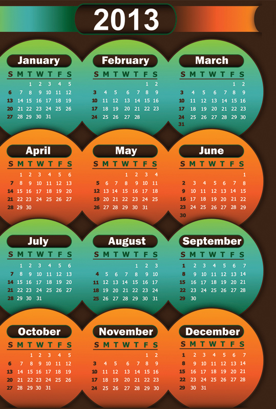 More Picture For calendar 2013 stock vector.