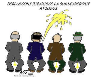 berlusconi, fiuggi, tajani, leadership, centrodestra, vignetta, satira